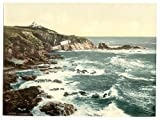 13cm x 18cm (1890 - 1900) Vintage Photochrom Postcard Reprint of Lizard Point, Cornwall, England