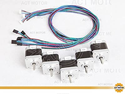 Act GmbH 5pcs Nema17 Stepper Motor 17HS5425L20P1 x2 2.5 A, Flat Shaft 48 mm 4800g. cm/Cable with Connector