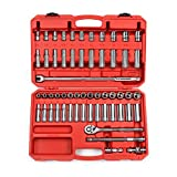 TEKTON 13201 1/2-Inch Drive Socket Set, Inch/Metric, 6-Point, 3/8-Inch - 1-Inch, 10 mm - 24 mm, 58-Piece