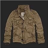 Abercrombie&Fitch アバクロ メンズ ミリタリー ジャケット,100%cotton,ジップ&ボタンクローズ,左腕にロゴパッチ 並行輸入品 (XL, カーキ)