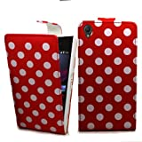 Accessory Master- Red pu Leather Flip Cover Case for Sony Xperia Z1 L39h C6903 - Polka Dot