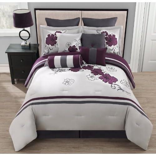 Amazon.com - 10 Piece King Poppy Purple and Gray Comforter ...