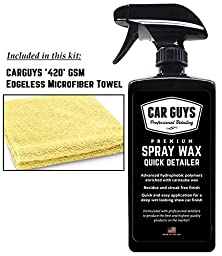 Detail Spray Wax Kit - Long Lasting Hybrid Polymer Spray Sealant - Detailing Spray for Cleaning - Deep and Wet New Car Wax Shine - Spray Wax Quick Detailer by CarGuys
