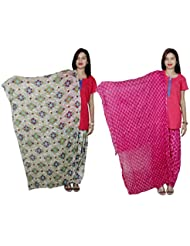 Indistar Women's Cotton Patiala Salwar With Dupatta Combo (Pack Of 2 Salwar With Dupatta) - B01HROLHLC
