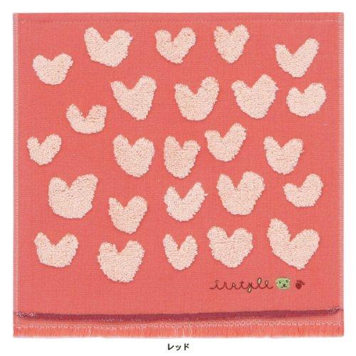 ●(内野)UCHINO INSTYLE AKIKO OBUCHI(インスタイル アキコ オブチ) はあと タオルハンカチ 無撚糸 ガーゼ レッド