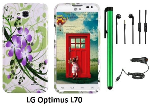 Lg Optimus L70 (Ms323) Premium Pretty Design Protector Hard Cover Case + Car Charger + 3.5Mm Stereo Earphones + 1 Of New Assorted Color Metal Stylus Touch Screen Pen (Splash-Ink Painting Purple Green Flower On White)