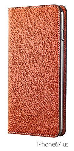 BONAVENTURA ボナベンチュラ iPhone6Plusケース (5.5インチ) ドイツ製本革 牛革 レザー アイフォンケース 手帳型 German leather diary type iPhone case 全8色 パッケージ箱なし (オレンジ)