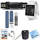 Garmin vivoactive GPS Smartwatch White with Heart Rate Monitor Blue Band Bundle includes White vivoactive GPS Smartwatch, Heart Rate Monitor, Blue Replacement Band, Screen Protectors, Headphones, Carrying Case and Micro Fiber Cloth
