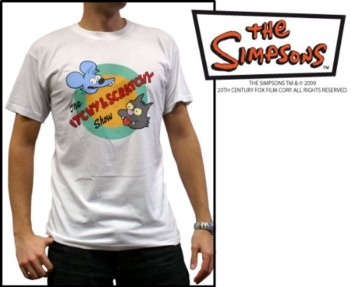 ABYstyle  ABYTEX075_GD  Costume  Simpsons  Tshirt Homme  Itchy et Scratchy  Blanc  XL Picture