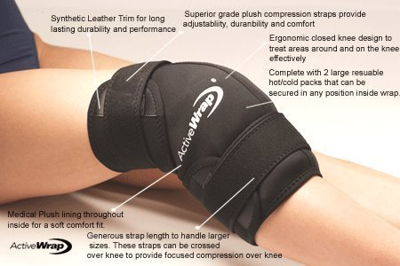 Active Forever ActiveWrap Knee Wrap Right or Left Knee, Large/X-Large, Black