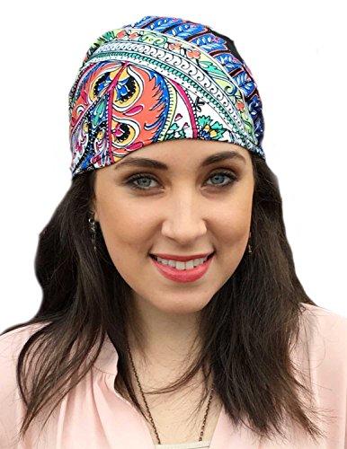 Pre Tied Fitted Bandana Head Scarf, Chemo Scarf (Pink MultiColor) (Gypsy Head Scarf)