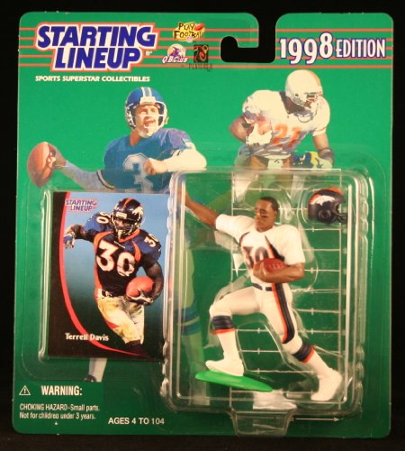 TERRELL DAVIS / DENVER BRONCOS 1998 NFL Starting Lineup Action Figure & Exclusive NFL Collector Trading Card