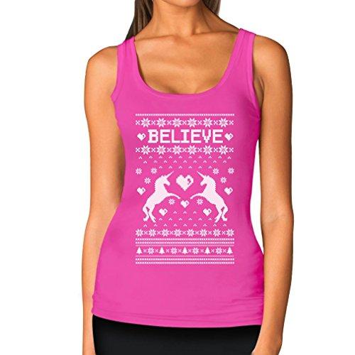 Teestars Women'S - Believe Unicorn Ugly Xmas Sweater Tank Top X-Large Pink