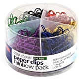 Officemate PVC Free Color Coated Clips, Assorted Colors, 450 per Tub (300 #2, 150 Giant) (97227)