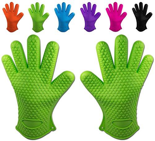 Belmalia guanti da forno in calore resistente in silicone per la cucina e barbecue, scarpa di mano Verde