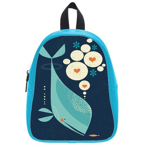Generic Custom Blue Abstract Fish In The Sea Ocean Printed Deep Sky Blue School Bag Backpack Fit Short Trip Pu Leather Large front-911116