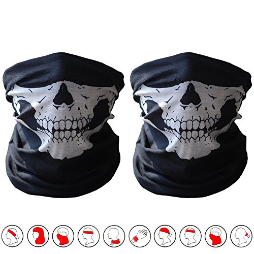 2PCS Seamless Skull Bandana Motorcycle Polyester Scarf Face Tube Mask (Black&Black)