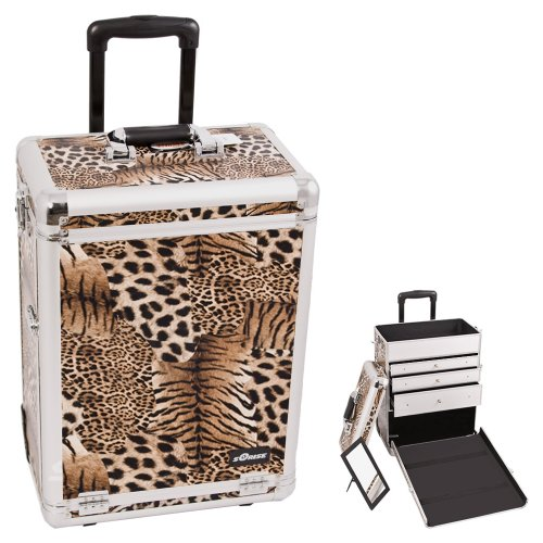 Sunrise Brown Interchangeable Leopard Textured Printing Professional Inline Stake Wheels Rolling Aluminum Cosmetic Makeup Case Organizer with Large Drawers (Mix Secrets For The Small Studio compare prices)