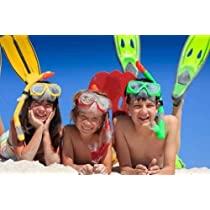 Snorkel Kids on Beach - Peel and Stick Wall Decal by Wallmonkeys