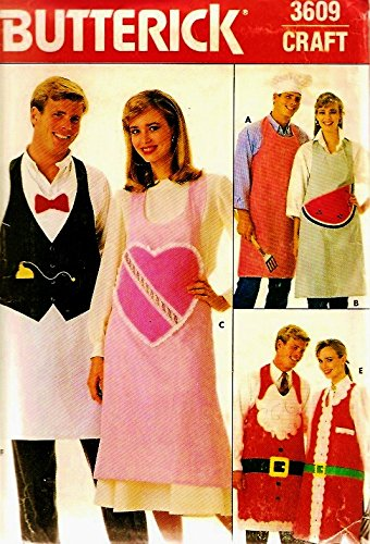 Butterick 3609 Mens/Womens Aprons Wedding, Bbq, Christmas & More ~ Sewing Pattern