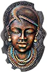 GREEN HOUSE Clay African Queen Terracotta Mask (31 Cms x 20.5 Cms, Black)