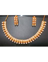 Bling N Beads Gold Plated Ethnic Indian Jewellery Set With Earrings