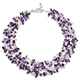 "HinsonGayle ""Ava"" 4-Strand Handwoven Amethyst and White Freshwater Cultured Pearl Necklace"