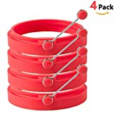 HOMIEHOME Nonstick Silicone Egg Rings BPA Free with Free Ebook- Red (4 Pack)