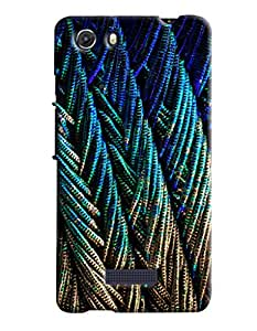 Blue Throat Peacock Feather Pattern Hard Plastic Printed Back Cover/Case For Micromax Unite 3