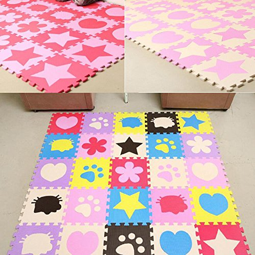 E Support™ 24PCS Kids Soft Safety Interlock Foam Crawling Mat Play Floor Puzzle Rug Floor Pad