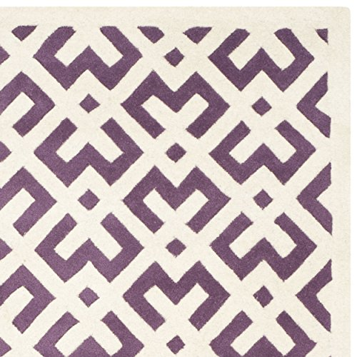 Safavieh Chatham Collection CHT719F Handmade Purple and Ivory Wool Area Rug, 6 feet by 9 feet (6' x 9')