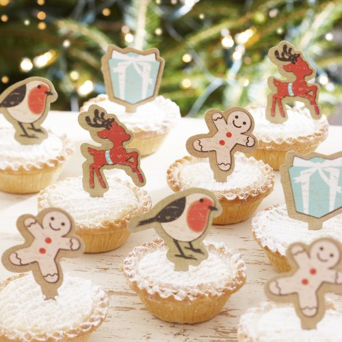 Ginger Ray Vintage Noel Mince Pie/Cupcake Sticks Christmas Decorations, Mixed - 1
