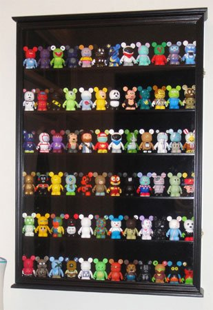 LARGE Wall Curio Shadow Box Display Case Cabinet for Vinylmation or Miniature Figurines - Black Finish (Extra Large Display Case compare prices)