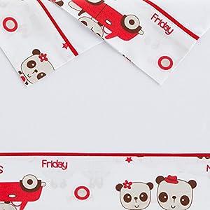 Sabanas invierno Franela MINICUNA 50X80 - Panda (bajera+encimera+funda almohada) marca Creaciones Cutihogar