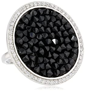 Sterling Silver Genuine Swarovski Elements Black Crystal Rock and Cubic Zirconia Border Ring, Size 7 from FMC Fashion Manufacturing Co