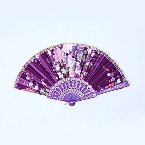 Olibay Summer Folding Hand Held Fan Floral Wedding Dance Favor Pocket Fan