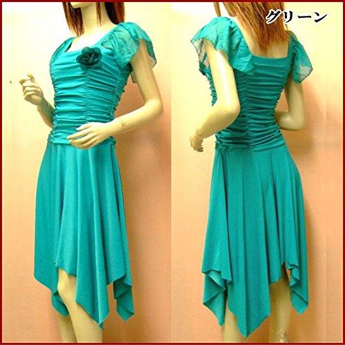 緑 グリーン ダンス衣装としても☆Mサイズ~Lサイズ対応 パーティードレス 袖あり ドレープ シンプルで上品なワンピースドレス ダンス衣装 結婚式ドレス 選べるカラー【d53-am】