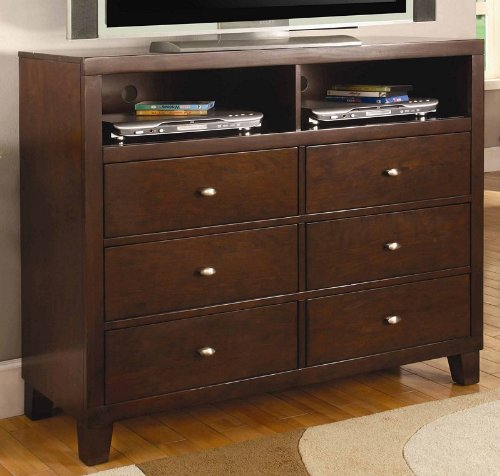 Coaster Loretta TV Dresser In Deep Brown Finish