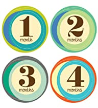 Lucy Darling Shop Monthly Baby Sticker - Gender Neutral - Retro Numbers - Months 1-12