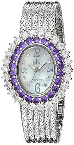 Adee Kaye Women's AK2423-RD GLAM COLLECTION Analog Display Analog Quartz Silver Watch
