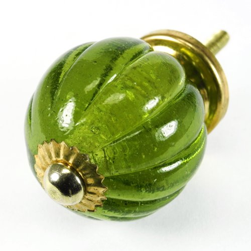 Olive Pumpkin Glass Cabinet Knobs, Drawer Pulls & Handles Set/8Pc ~ K149 Classic Old French Vintage Pumpkin Style Glass Knobs For Cabinets, Dresser, Kitchen Cabinets And Cupboards front-822605