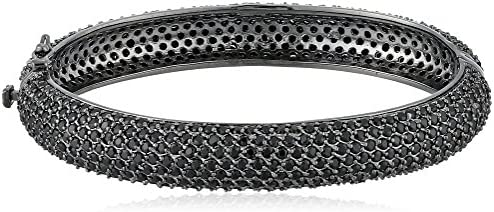 "CZ by Kenneth Jay Lane ""Classic"" Rhodium-Plated Cubic Zirconia Bangle Bracelet, 2.75"""