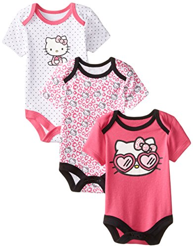 Hello Kitty Baby-Girls Newborn 3 Pack Three Unique Designs Bodysuits, Multi, 6-9 Months