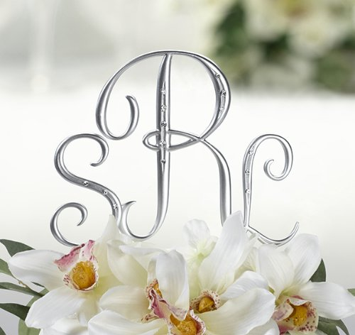 Silver Monogram Wedding Cake Toppers Initials With Rhinestone - Set Of 3 With Bonus Free Metal Design Mini Frame back-645734