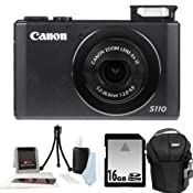 Amazon.com : Canon PowerShot S110 12.1 MP Digital Camera with 5x Optical Image Stabilized Zoom (Black) + 16GB Memory Card + Universal Camera Case + Accessory Kit : Point And Shoot Digital Camera Bundles : Camera & Photo
