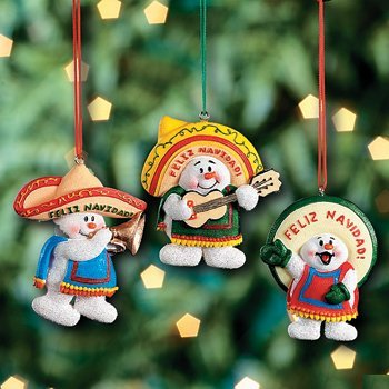 3 Feliz Navidad Snowman Christmas Ornaments/mexican Holiday Decor/tree Decorations