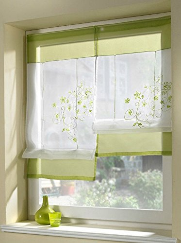 Uphome 1pcs Country Style Embroidered Flower Voile Roman Curtain - Silk Ribbon Lifting Back Tab/Rod Pocket Sheer Window Curtain,24 x 47 (Window Treatment Ideas)