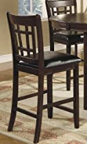 Big Sale Set of 2 Counter Height Stools Lattice Back Dark Cappuccino Finish