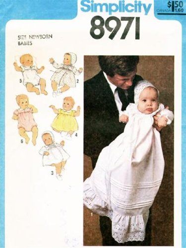 Simplicity 8971 Infant Christening Gown 5 Other Baby Outfits Vintage 1979 Sewing Pattern (Christening Gown Sewing Pattern compare prices)