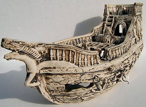 Deko-Aquarium-Boot-XXL-Hhle-Wrack-Fische-Keramik-Dekoration-Schiff-gro-Neuware